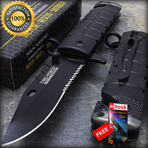 Combat Evo Carbon - 7.5'' TAC FORCE SPRING ASSISTED CARBON TACTICAL FOLDING KNIFE Razor Sharp Blade Open Pocket Combat Tactical Knife + eBOOK by Moon Knives