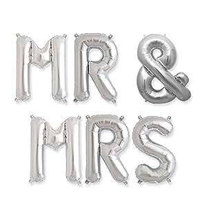 """Hortense B. Hewitt MR & MRS Balloon Kit, 34"""", Silver"""