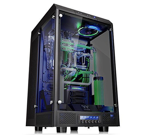 Thermaltake Tower 900 Tempered Glass Fully Modular E-ATX Vertical Super Tower Gaming Computer Case Chassis Black Edition, ()
