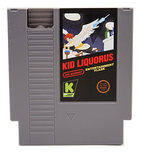 Concealable NES Entertainment Flask – Looks like a Retro Nintendo Video Game Cartridge – buts it's a flask with a Hilarious Label (Kid Liquorus - Kid Icarus)