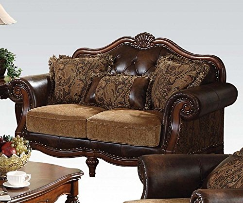 acme 05496 Dreena Bonded Leather Loveseat with Three Pillows