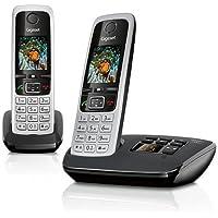 Gigaset C430A Duo Telefon - Schnurlostelefon/2 Mobilteile - mit TFT-Farbdisplay/Dect-Telefon - mit Anrufbeantworter/Freisprechfunktion - Analog Telefon - Schwarz