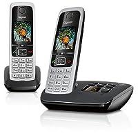 Gigaset C430A Duo Telefon - Schnurlostelefon / 2 Mobilteile - mit TFT-Farbdisplay/Dect-Telefon - mit Anrufbeantworter/Freisprechfunktion - Analog Telefon - Schwarz