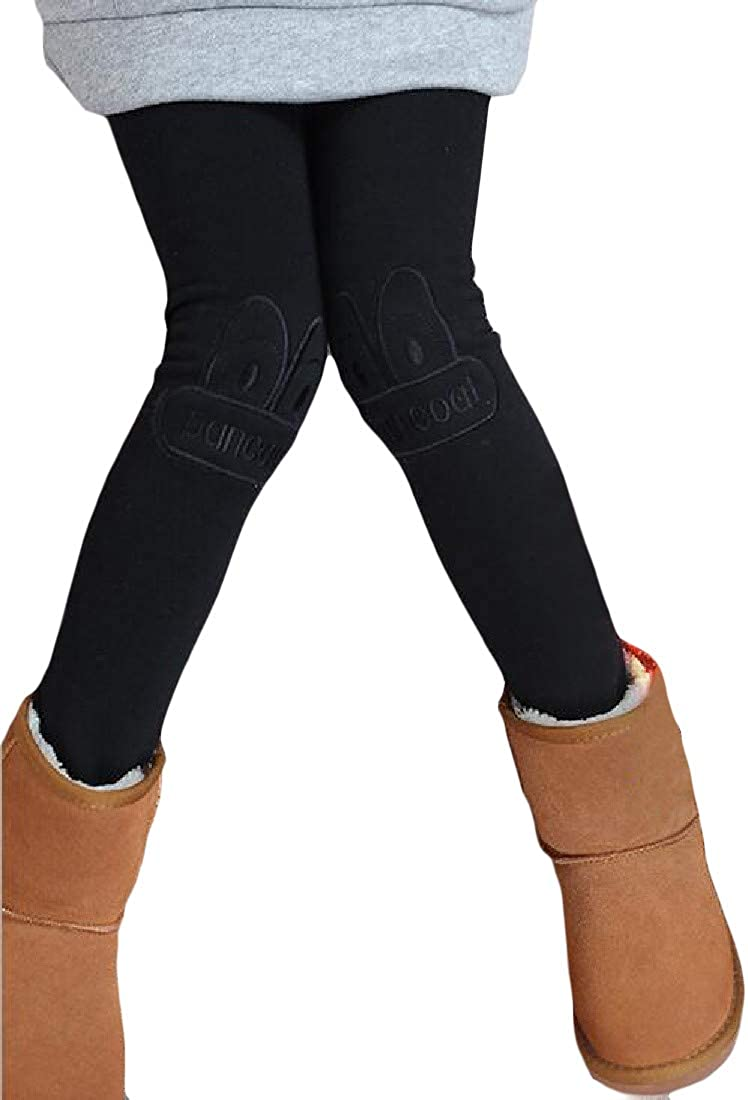 Cromoncent Girl Stretchy Comfy Thicken Fleece Cartoon Pants Legging