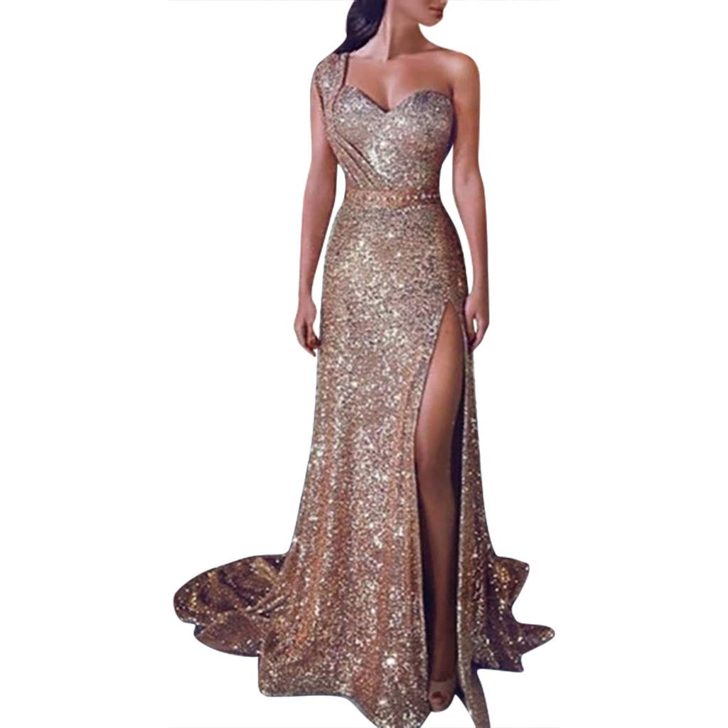 Womens Elegant Evening Dress Sexy Sequin Prom Party Ball Gown Gold Bridesmaid V-Neck Off Shoulder Long Slit Dress (XL, Champagne) by KoLan Women Dress (Image #1)