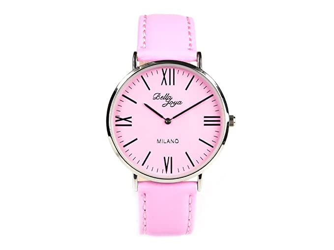 Bella joya superflache Mujer Reloj Milano, correa de piel auténtica Color Rosa