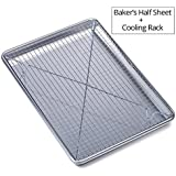 """Chef's Star Aluminum Commercial Baker's Half Sheet with Cooling Rack Set - 17.75"""" X 13"""""""