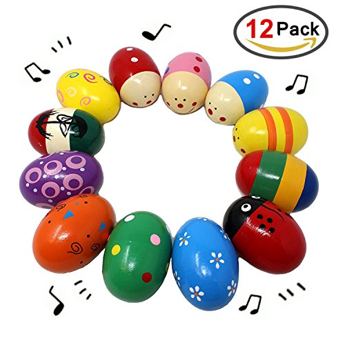 MICKYU 12 Pieces Wooden Easter Egg Percussion Musical 2.7''Maracas Egg Shakers for Basket Stuffers Fillers, Spring Gift Set Bundle, Easter Hunt, Party Favors, Classroom Prize Supplies, Musical Instrum by MICKYU