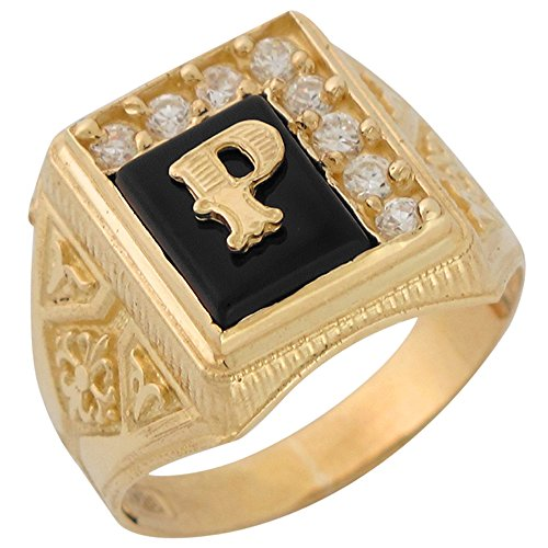 10k Yellow Gold Black Onyx White CZ Accented Mens Classic Letter P Initial Ring