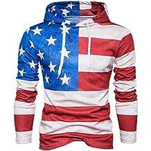 Paymenow Mens' Hoodie Sweatshirt Fashion American Flag Print Hooded Tops Jacket Coat Outwear