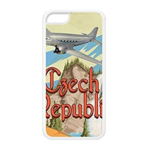 Czech Republic White Silicon Rubber Case for iPhone 5C by Nick Greenaway + FREE Crystal Clear Screen Protector