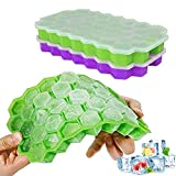Ice Cube Trays, Ouddy 2 Pack Silicone Ice Cube Molds with Removable Lid, Totally 74-Ice Trays for Whiskey, Cocktail, Stackable Flexible - Green & Purple