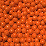 """Unique & Custom {9/16'' Inch} Approx 1 Pound Set of Approx 120 """"Round"""" Opaque Marbles Made of Glass for Filling Vases, Games & Decor w/ Glossy Smooth Pumpkin Tone Fall Filler Design [Bright Orange]"""