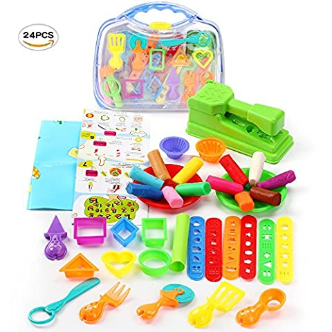 Molding Caly Amazing Magic Plasticine Set for Kids Sculpts Animal Kitchen Educational Craft Molds Set with Durable Tool Box - 36 pcs