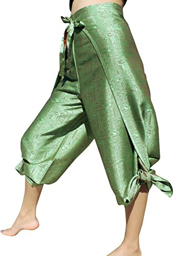 Raan Pah Muang Brand Geometric Thick Textured Silk Drive in Wrap Pants, X-Large, Pistachio Green
