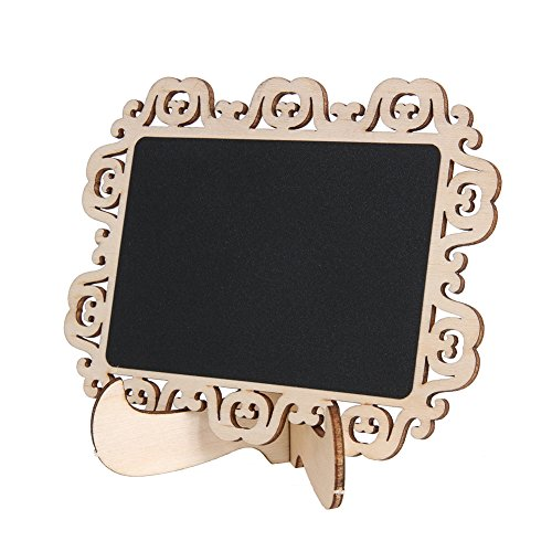 YesluckY 10 PCS Mini Wooden Wood Chalkboard Blackboard On Stick Stand Holder Table Number for Wedding Event Decoration