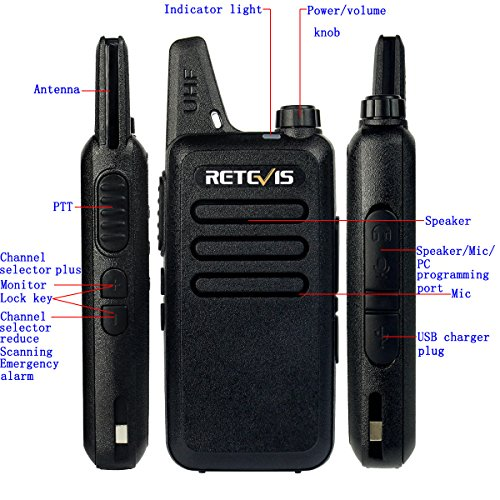Retevis RT22 Two Way Radio 16 CH VOX 400-480MHz CTCSS/DCS Rechargeable Walkie Talkies(10 Pack) and Programming Cable by Retevis (Image #6)