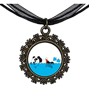 Chicforest Bronze Retro Style Olympics panda butterfly swimming cartoon Round With Flower Lace Pendant