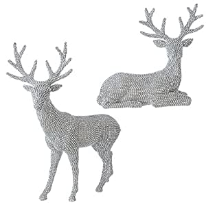 20 Inch High Set of 2 Rhinestone Silver Deer - Christmas Reindeer in Glittered Rhinestone