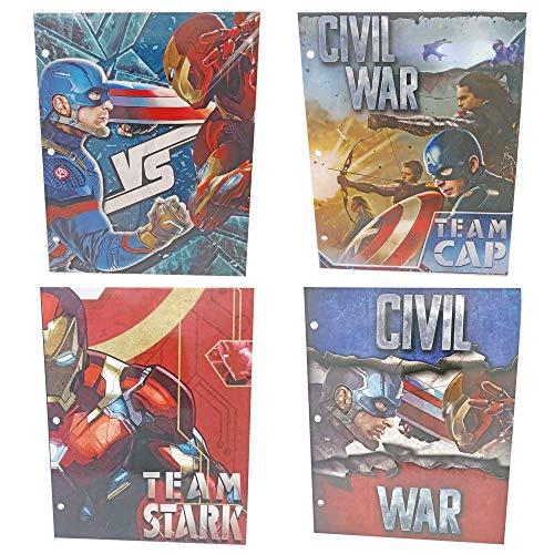 - PBs Baskets Marvel Captain America Civil War 2 Pocket Folders Marvel Captain America, Team Stark 4 Unique Captain America Designs