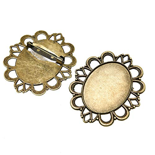 Monrocco 10Pcs Antique Bronze Brooch Pin Bezel Blank Cabochon Frame Setting Tray for DIY Jewelry Making