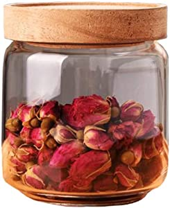 ericotry 450ML 15OZ Glass Storage Container jars with Sealed Wooden Lids Glass Canister Kitchen Food Storage Containers for Coffee Beans Loose Tea Leaves Nuts Sugar Candy Spice Cookies