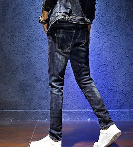 A Ssig Strappati Casual Sottili Base Da Elasticizzati Di Costine Uomo Bolawoo Blau Denim Mode In Pantaloni Jeans Marca 1Fq77w