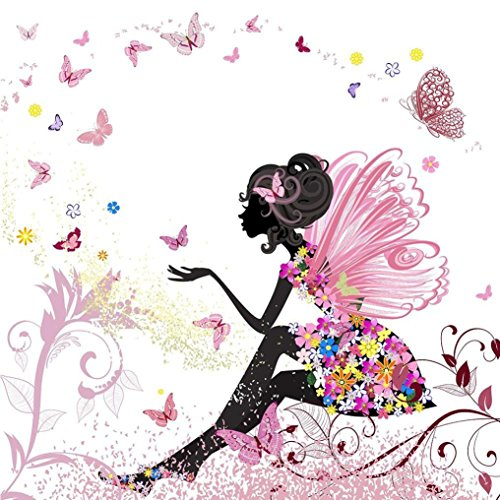 Yeefant Butterfly Girl Modern Art Embroidery Paintings No Fading 5D Canvas Rhinestone Pasted Pasted DIY Diamond Cross Stitch Home Wall Decor for Bedroom Living Room,12x12 Inch (Wall Butterfly Art Mosaic)