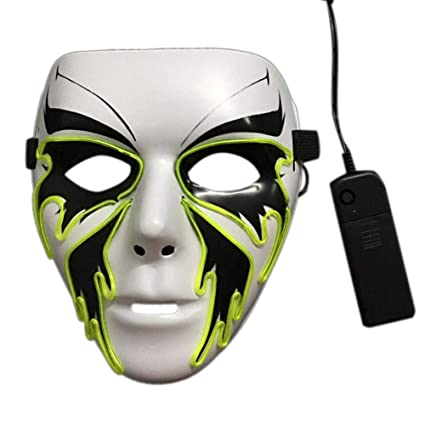 cheerfulus El Glow Mask Halloween, Máscara LED Light Up Party Luminous Cool Rave Máscara para
