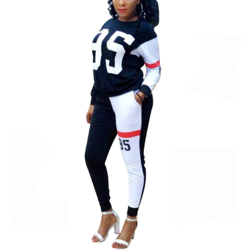 Kumono Womens Tracksuit Letter Print 2 Piece Outfit Sweatshirt and Skinny Long Pants Set Sweatsuit