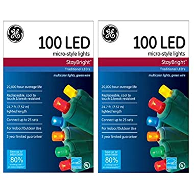 Ge Staybright Micro-style Led Christmas Lights, Multi-color, 100 Count Set of 2
