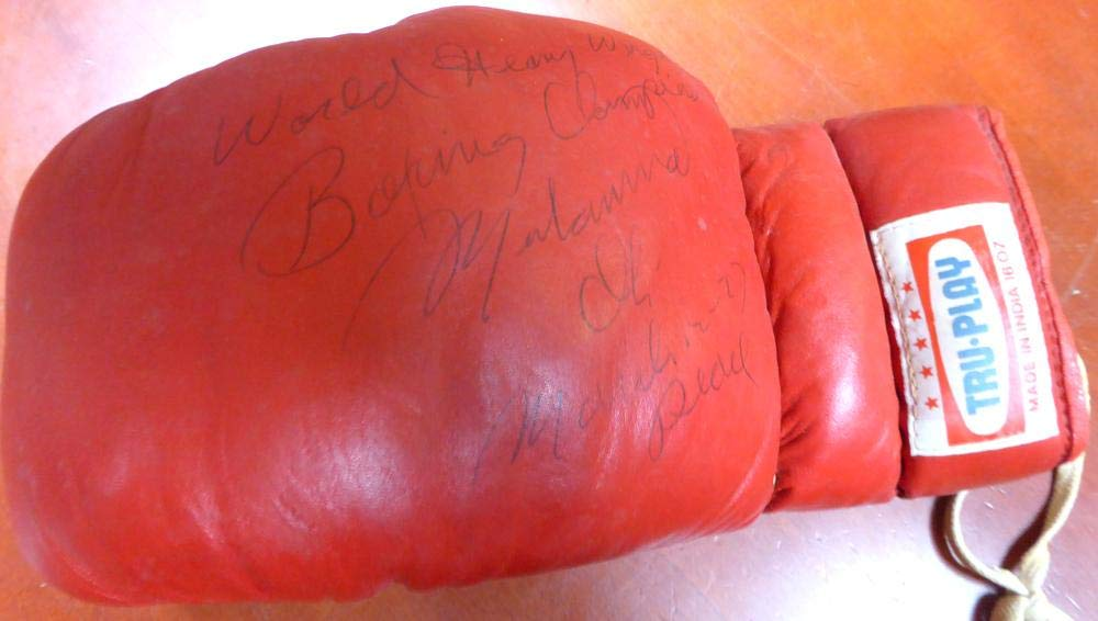 """Muhammad Ali Autographed Tru Play Boxing Glove""""World Heavy Weight Boxing Champ, March 12 77, Peace"""" #AA07101 PSA/DNA Certified"""