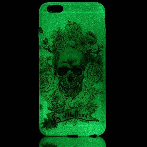 iPhone 6 / 6S Plus Hülle mit Fluoreszenz , Modisch Goldschädel Transparent TPU Silikon Schutz Handy Hülle Handytasche HandyHülle Etui Schale Schutzhülle Case Cover für Apple iPhone 6 / 6S Plus