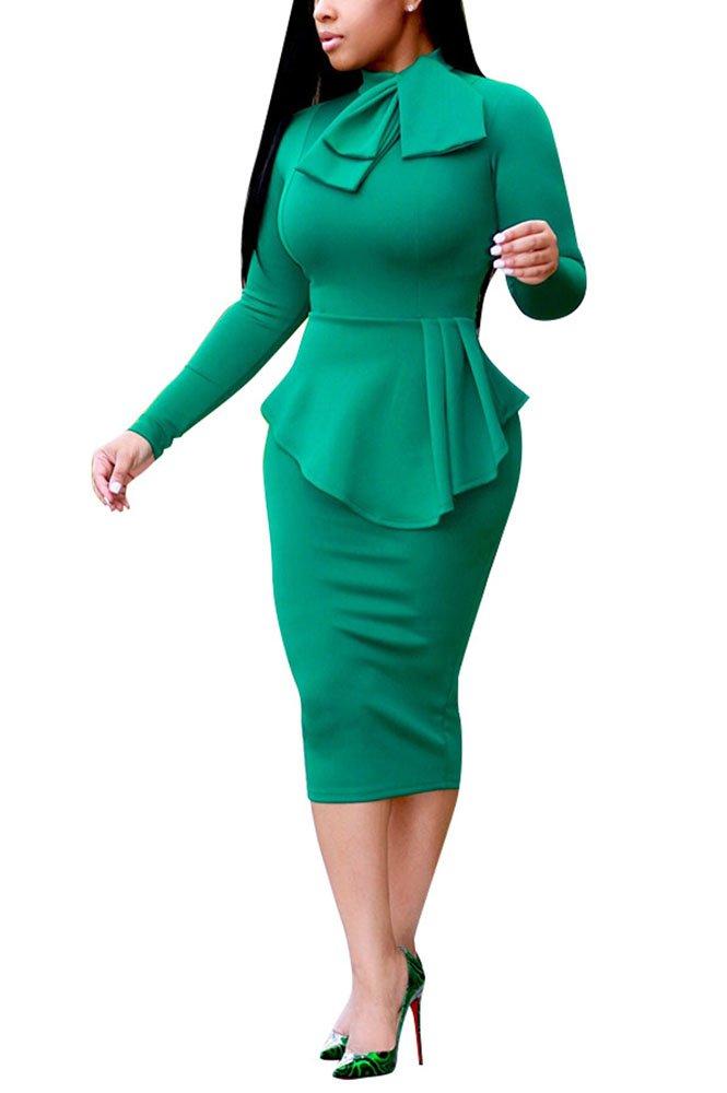 Womens Business Dress One Piece Suit Long Sleeve Tie Neck Peplum Top Bodycon Skirt Office Ladies Green S