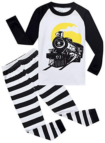 Mmii Pajamas Train Little Boys Cotton Sleeper Pajamas Set 2 Piece Sleepwears Pjs Size 5