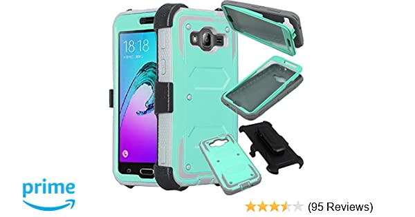 Samsung Galaxy Sky Case, Galaxy Sol Case, Galaxy J3 2016, J3v, J3 Nova,  SOGA [Tri-Guard Series] Shock Armor Case Cover with Belt Clip Holster &