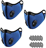 3 PCS Dust Face Mask With Filter,Reusable Face Masks Washable for Motorcycle Bicycle Running, Cycling, Outdoor