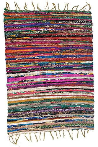 (Hand Woven Colorful Jute Rag Rug, 2 feet x 3 feet (Multi Color))