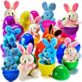 Plush Bunny Filled 3'' Colorful Easter Eggs (12 Pack )