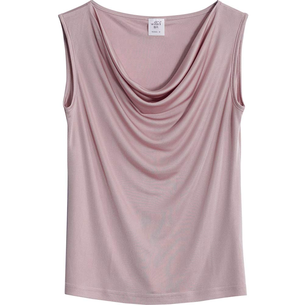 D Silk Tank Tops,Women's Silk Breathable SkinFriendly Summer Wear Camisole Sexy Pleated Sleeveless Top (color   D, Size   XXL)