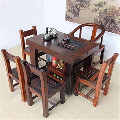 BEYTII Nave Vieja Mesa de té, sillas, Juegos de té de combinación de los hogares, Kung Fu té de Madera sólida Mesa de té, Juegos de té, uno, Simple, Mesa de café,