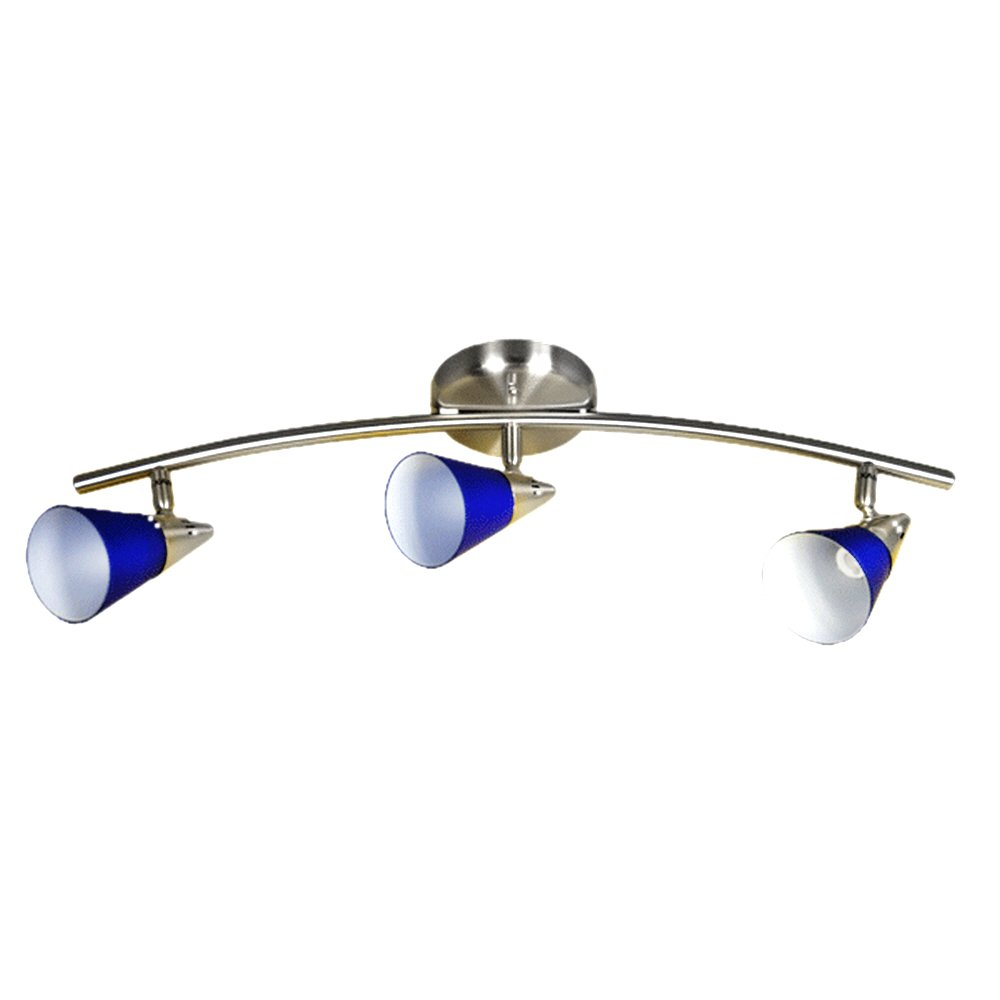 eTopLighting Claire Collection Indoor 3 Moveable Chrome Track Light Strip Home Interior Decor Fixture APL1222, le bleu