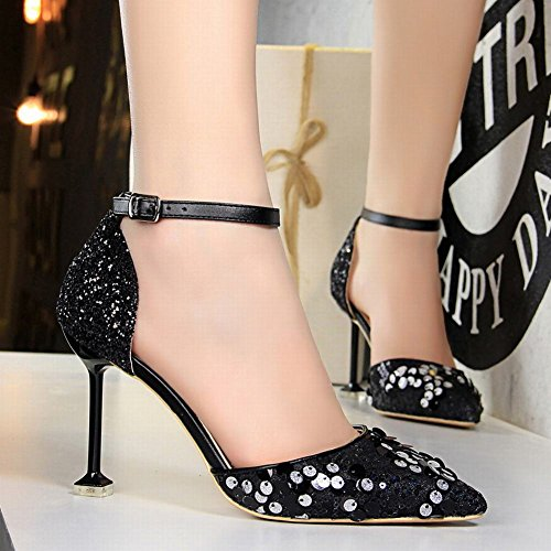 Women's Heel Elegant High Wedding Sandals Pointed Carolbar Black Sequins silver Toe Sexy dZRq5x5XFw