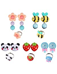 kilofly 5 Sets Princess Party Favors Girls Jewelry Rings Clip On Earrings Pack