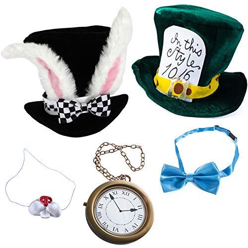 Tigerdoe Rabbit Costume - 5 Pc Set - White Rabbit Costume - Mad Hatter Costume - Bunny Costume -