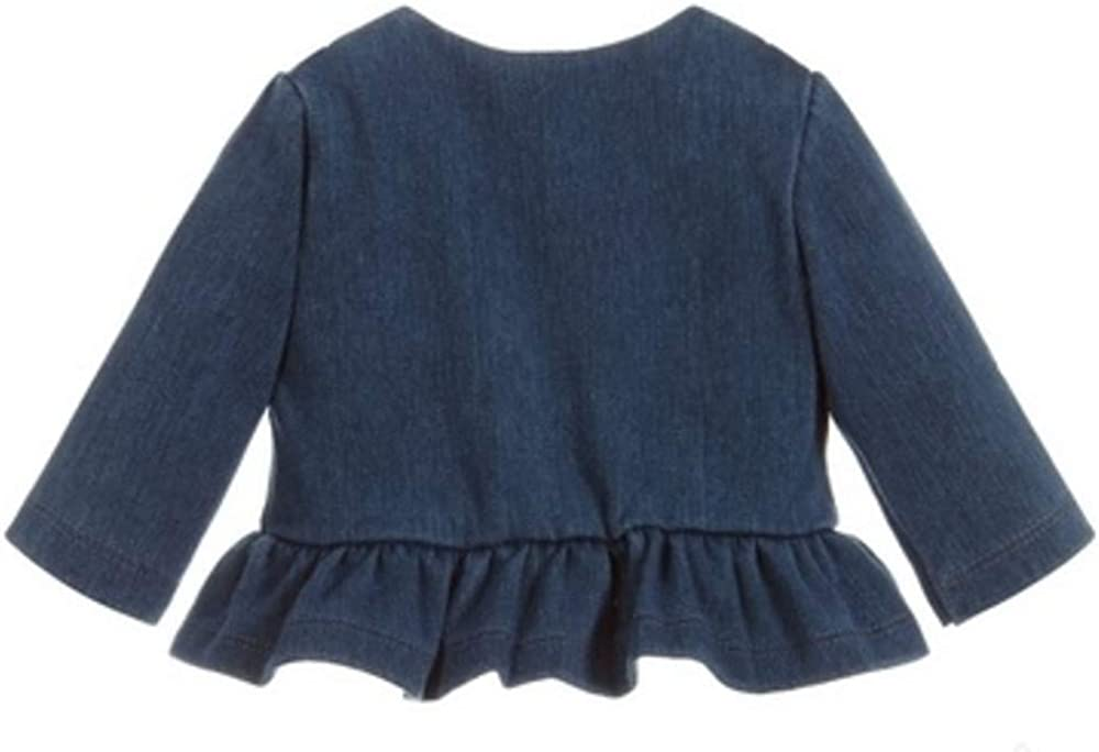 Mayoral Baby Girls Blue Jacket with Bow and Ruffle at Waist Size 1-2 Months