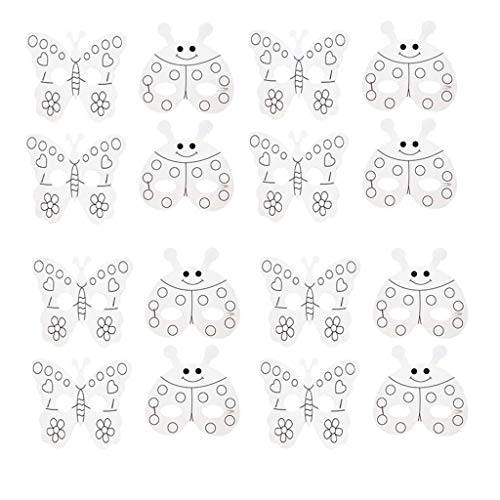 20 Set DIY Cartoon Animal Masks Blank Painting Paper Masks Butterfly Ladybug Face Masks with Holes&Elastic Cords for Kids Jungle Forest Animal Birthday Party Graffiti Toys Hand Painting Art Crafts -