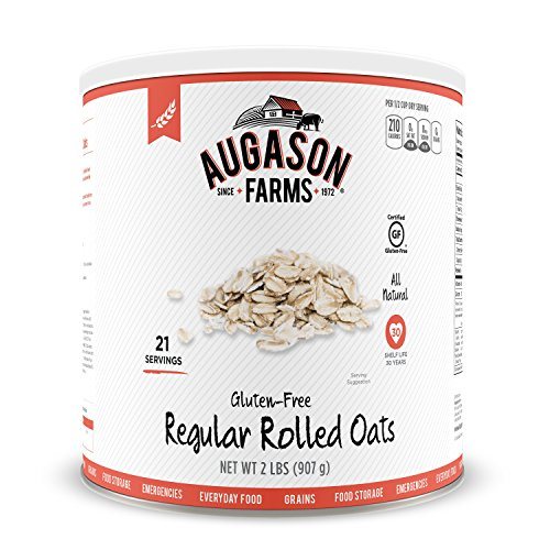 Augason Farms Gluten-Free Regular Rolled Oats #10 Can, 32 - Ounce 32 Cans