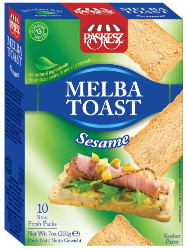 Paskesz Melba Toast, Melba Toast Sesame, 7-Ounce Package (Pack of 7) by Paskesz