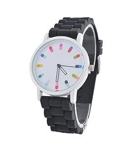 MJARTORIA Black Silicone Adhesive Pill Pointer Quartz Watch 24.5CM